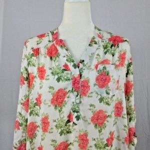 DNA Couture Large Blouse Floral Roll Tab Sleeves